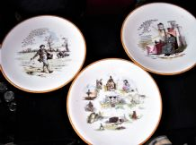 "3 X ANTIQUE POWELL & BISHOP PLATES HOUSE THAT JACK BUILT OCHRE RIMS 9.5"" 8933"